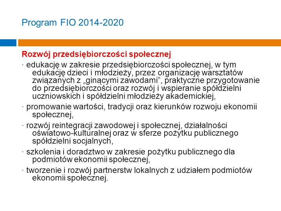 """Program FIO 2014-2020 Rozwój przedsiębiorczości społecznej · edukację w zakresie przedsiębiorczości społecznej, w tym edukację dzieci i młodzieży, przez organizację warsztatów związanych z """"ginącymi zawodami , praktyczne przygotowanie do przedsiębiorczości oraz rozwój i wspieranie spółdzielni uczniowskich i spółdzielni młodzieży akademickiej, · promowanie wartości, tradycji oraz kierunków rozwoju ekonomii społecznej, · rozwój reintegracji zawodowej i społecznej, działalności oświatowo-kulturalnej oraz w sferze pożytku publicznego spółdzielni socjalnych, · szkolenia i doradztwo w zakresie pożytku publicznego dla podmiotów ekonomii społecznej, · tworzenie i rozwój partnerstw lokalnych z udziałem podmiotów ekonomii społecznej."""