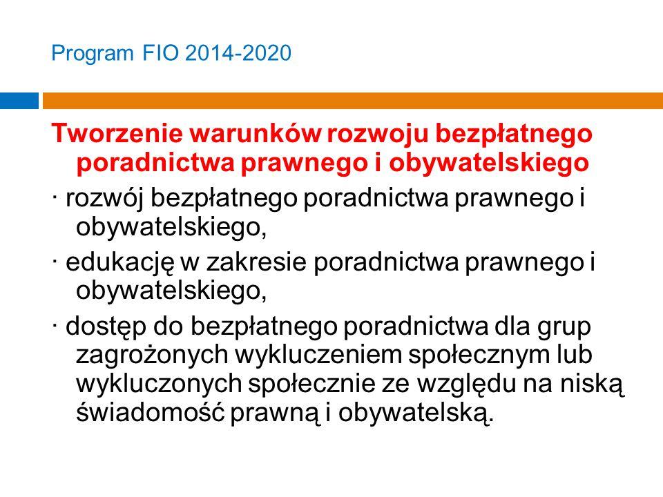 Program FIO 2014-2020 Tworzenie warunków rozwoju bezpłatnego poradnictwa prawnego i obywatelskiego · rozwój bezpłatnego poradnictwa prawnego i obywatelskiego, · edukację w zakresie poradnictwa prawnego i obywatelskiego, · dostęp do bezpłatnego poradnictwa dla grup zagrożonych wykluczeniem społecznym lub wykluczonych społecznie ze względu na niską świadomość prawną i obywatelską.