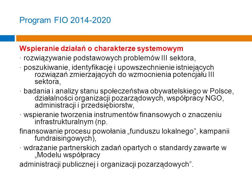 Program FIO 2014-2020 Wspieranie działań o charakterze systemowym · rozwiązywanie podstawowych problemów III sektora, · poszukiwanie, identyfikację i upowszechnienie istniejących rozwiązań zmierzających do wzmocnienia potencjału III sektora, · badania i analizy stanu społeczeństwa obywatelskiego w Polsce, działalności organizacji pozarządowych, współpracy NGO, administracji i przedsiębiorstw, · wspieranie tworzenia instrumentów finansowych o znaczeniu infrastrukturalnym (np.