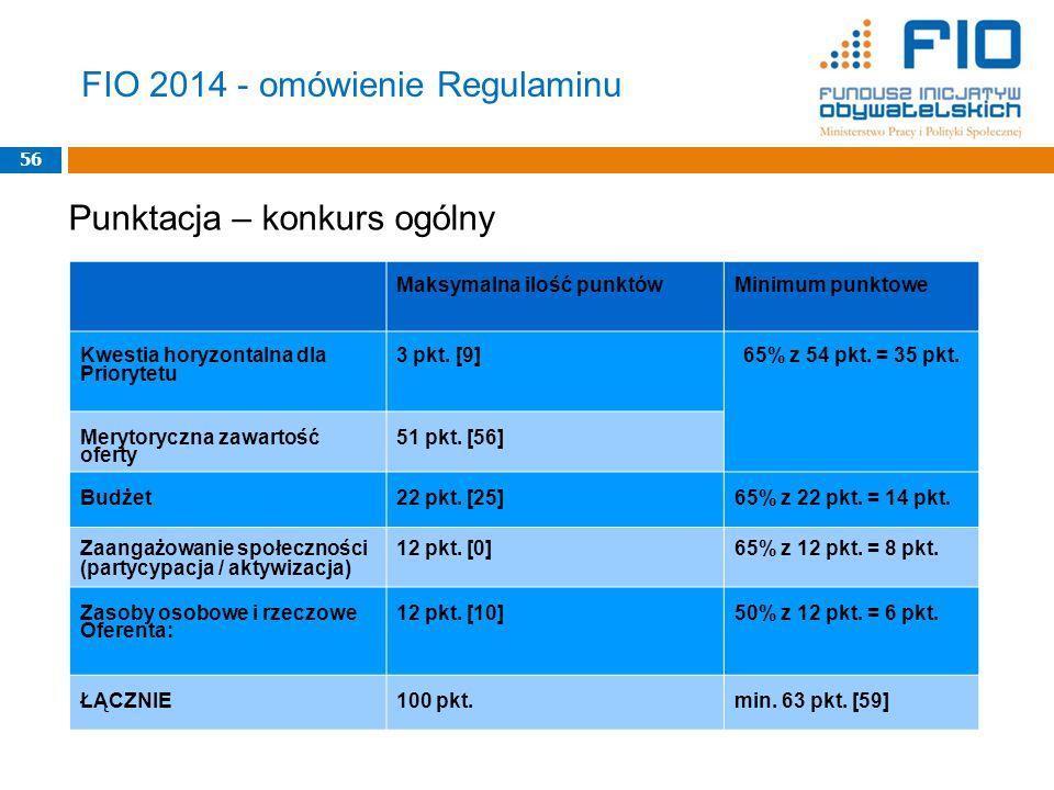 FIO 2014 - omówienie Regulaminu 56 Maksymalna ilość punktówMinimum punktowe Kwestia horyzontalna dla Priorytetu 3 pkt.