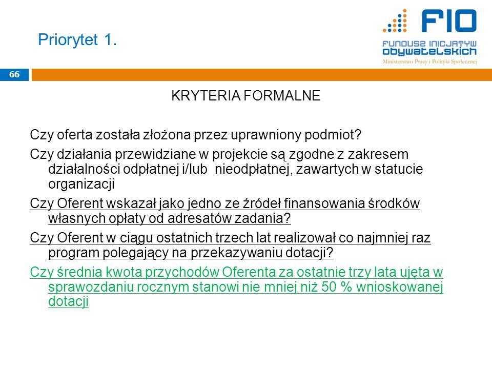 Priorytet 1. 66 KRYTERIA FORMALNE Czy oferta została złożona przez uprawniony podmiot.