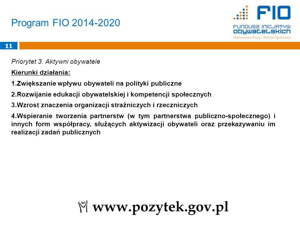 Program FIO 2014-2020 11 Priorytet 3. Aktywni obywatele Kierunki działania: 1.Zwiększanie wpływu obywateli na polityki publiczne 2.Rozwijanie edukacji