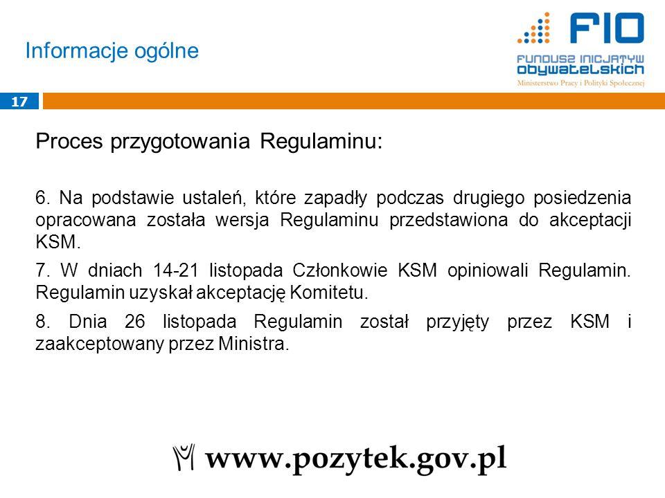 Informacje ogólne 17 Proces przygotowania Regulaminu: 6. Na podstawie ustaleń, które zapadły podczas drugiego posiedzenia opracowana została wersja Re