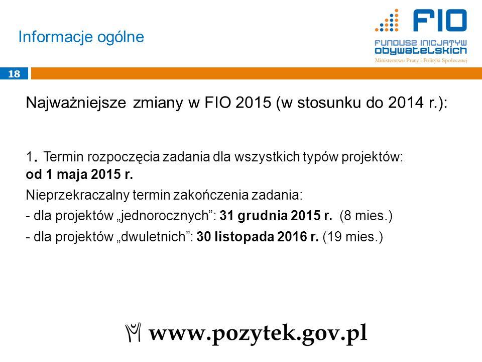 Informacje ogólne 18 Najważniejsze zmiany w FIO 2015 (w stosunku do 2014 r.): 1. Termin rozpoczęcia zadania dla wszystkich typów projektów: od 1 maja