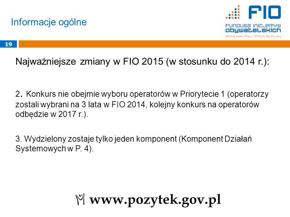 Informacje ogólne 19 Najważniejsze zmiany w FIO 2015 (w stosunku do 2014 r.): 2. Konkurs nie obejmie wyboru operatorów w Priorytecie 1 (operatorzy zos