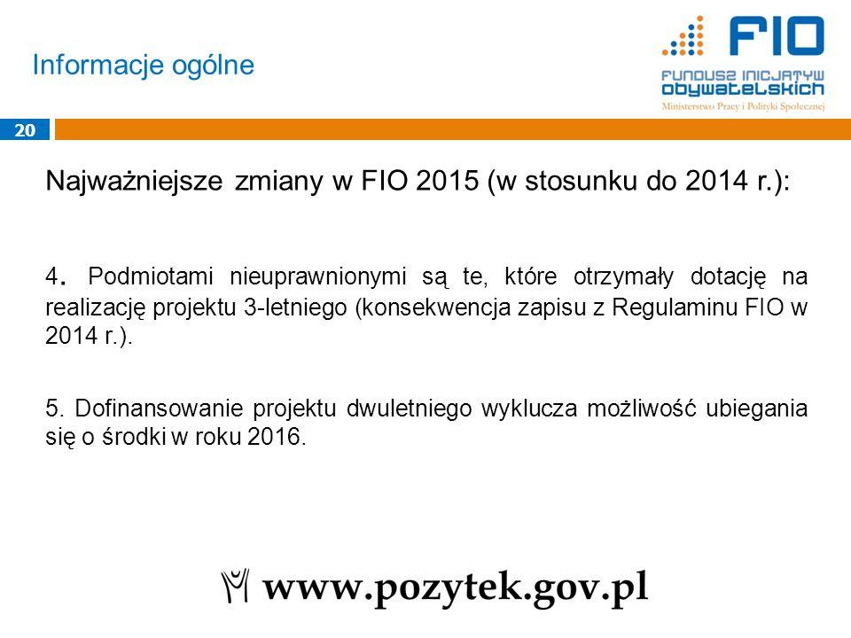 Informacje ogólne 20 Najważniejsze zmiany w FIO 2015 (w stosunku do 2014 r.): 4. Podmiotami nieuprawnionymi są te, które otrzymały dotację na realizac