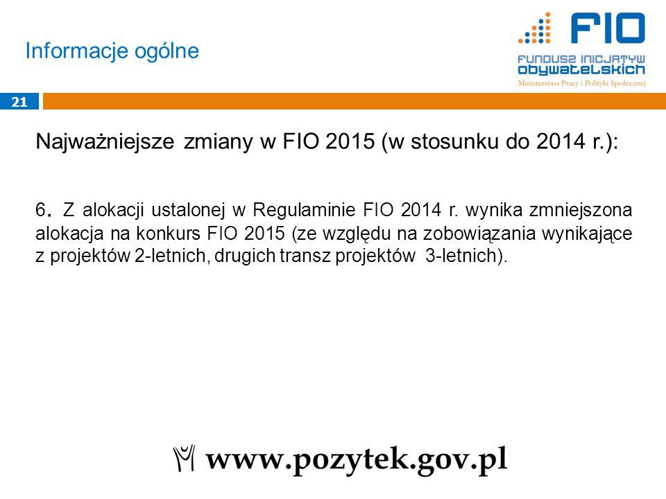 Informacje ogólne 21 Najważniejsze zmiany w FIO 2015 (w stosunku do 2014 r.): 6. Z alokacji ustalonej w Regulaminie FIO 2014 r. wynika zmniejszona alo