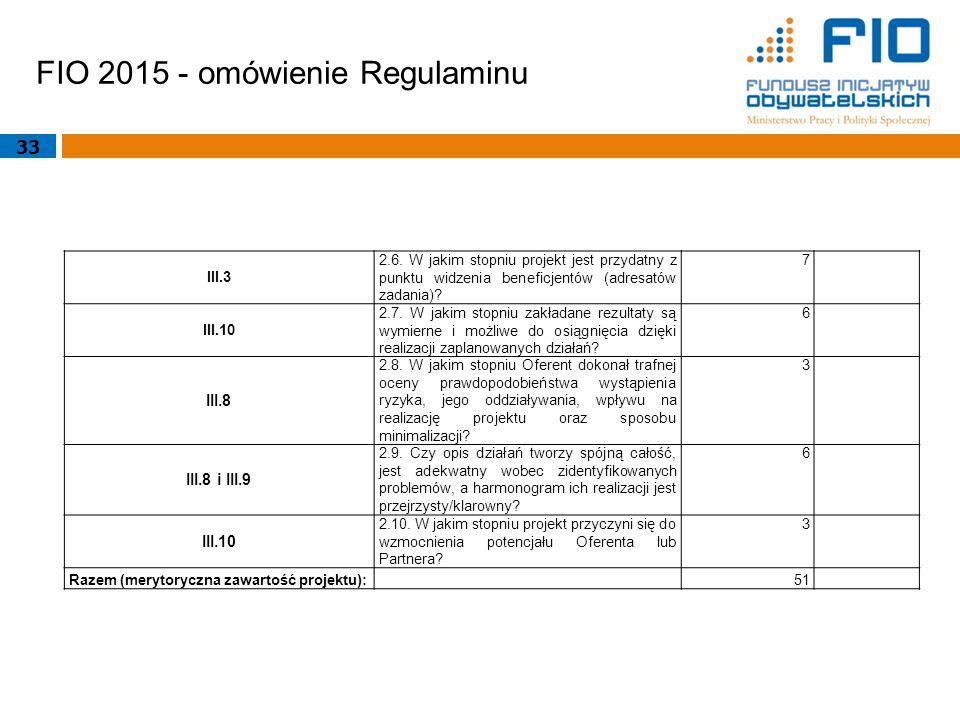 FIO 2015 - omówienie Regulaminu 33 III.3 2.6. W jakim stopniu projekt jest przydatny z punktu widzenia beneficjentów (adresatów zadania)? 7 III.10 2.7