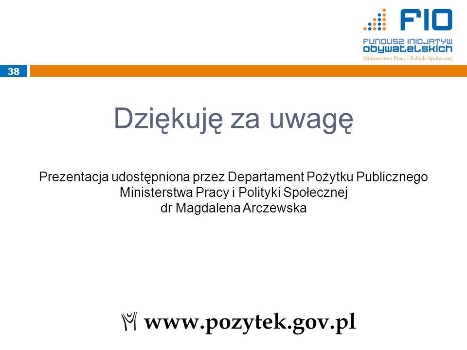Dziękuję za uwagę Prezentacja udostępniona przez Departament Pożytku Publicznego Ministerstwa Pracy i Polityki Społecznej dr Magdalena Arczewska 38