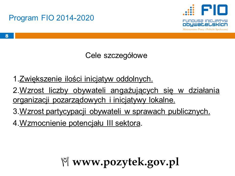Program FIO 2014-2020 8 Cele szczegółowe 1.Zwiększenie ilości inicjatyw oddolnych. 2.Wzrost liczby obywateli angażujących się w działania organizacji