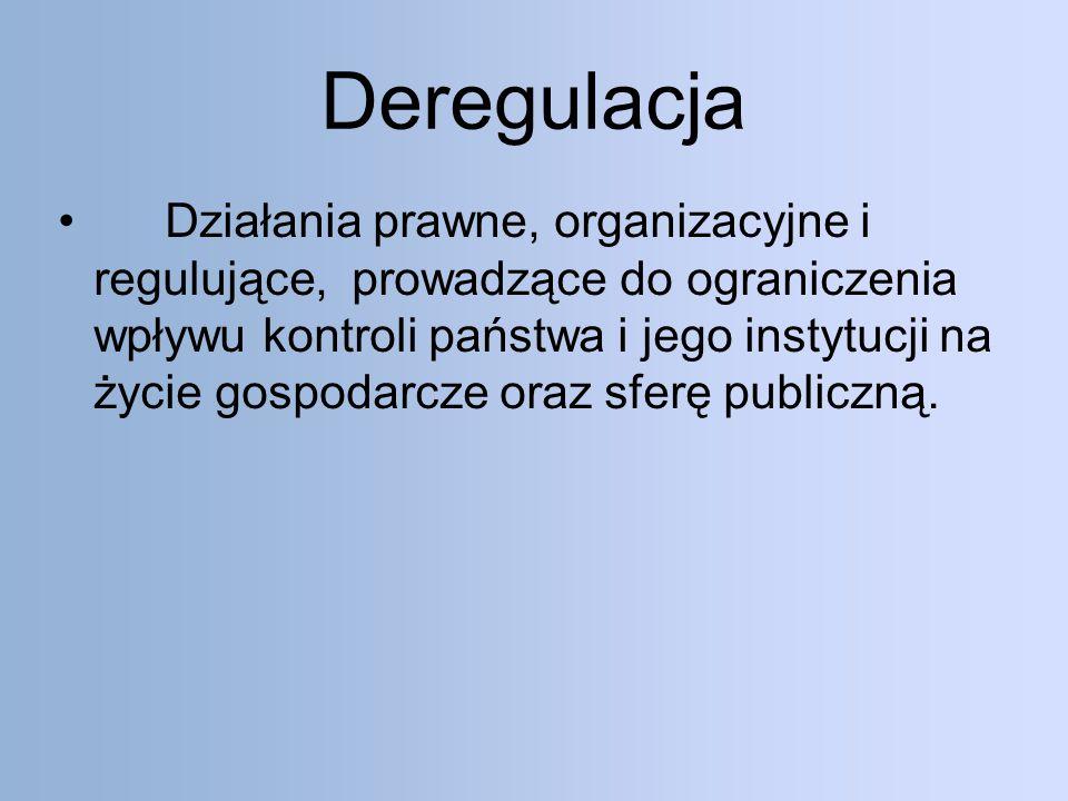 Deregulacja Działania prawne, organizacyjne i regulujące, prowadzące do ograniczenia wpływu kontroli państwa i jego instytucji na życie gospodarcze oraz sferę publiczną.