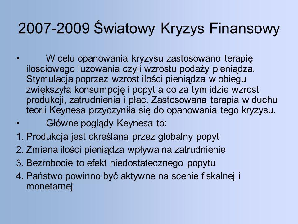 2007-2009 Światowy Kryzys Finansowy W celu opanowania kryzysu zastosowano terapię ilościowego luzowania czyli wzrostu podaży pieniądza.