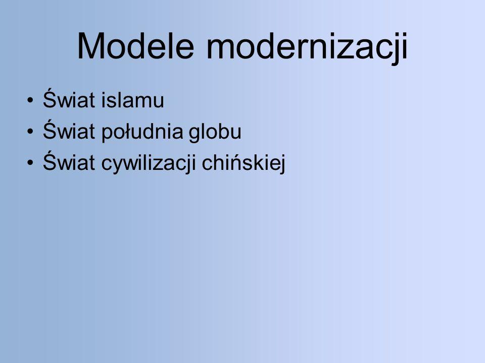 Modele modernizacji Świat islamu Świat południa globu Świat cywilizacji chińskiej