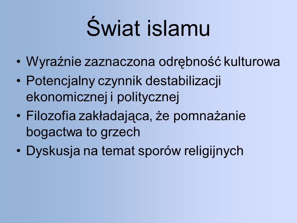 Świat islamu Wyraźnie zaznaczona odrębność kulturowa Potencjalny czynnik destabilizacji ekonomicznej i politycznej Filozofia zakładająca, że pomnażanie bogactwa to grzech Dyskusja na temat sporów religijnych