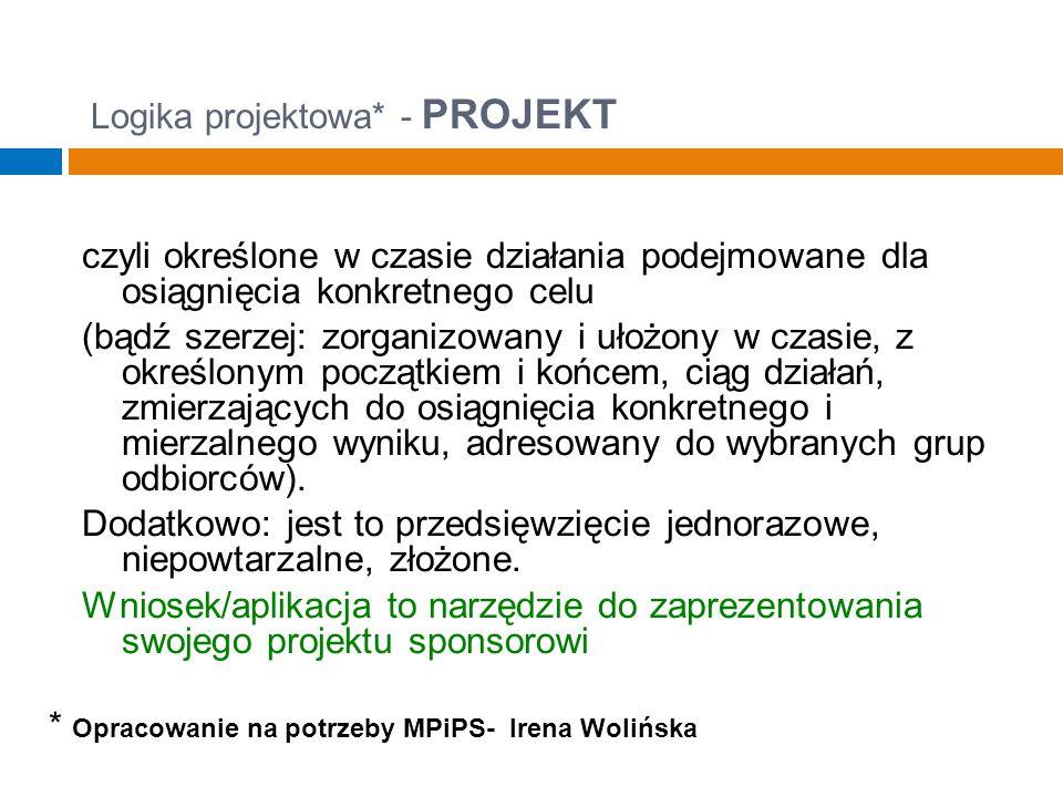Logika projektowa* - PROJEKT czyli określone w czasie działania podejmowane dla osiągnięcia konkretnego celu (bądź szerzej: zorganizowany i ułożony w czasie, z określonym początkiem i końcem, ciąg działań, zmierzających do osiągnięcia konkretnego i mierzalnego wyniku, adresowany do wybranych grup odbiorców).