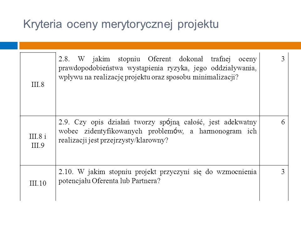 Kryteria oceny merytorycznej projektu III.8 2.8.