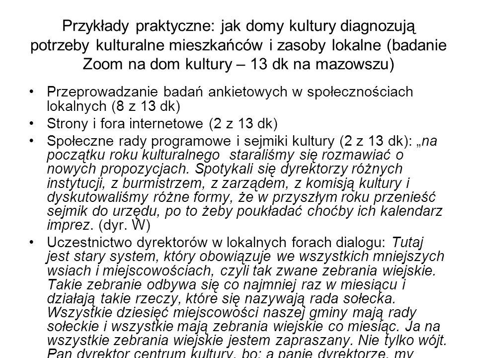 Przykłady praktyczne: jak domy kultury diagnozują potrzeby kulturalne mieszkańców i zasoby lokalne (badanie Zoom na dom kultury – 13 dk na mazowszu) P
