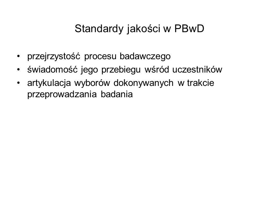 Standardy jakości w PBwD przejrzystość procesu badawczego świadomość jego przebiegu wśród uczestników artykulacja wyborów dokonywanych w trakcie przep