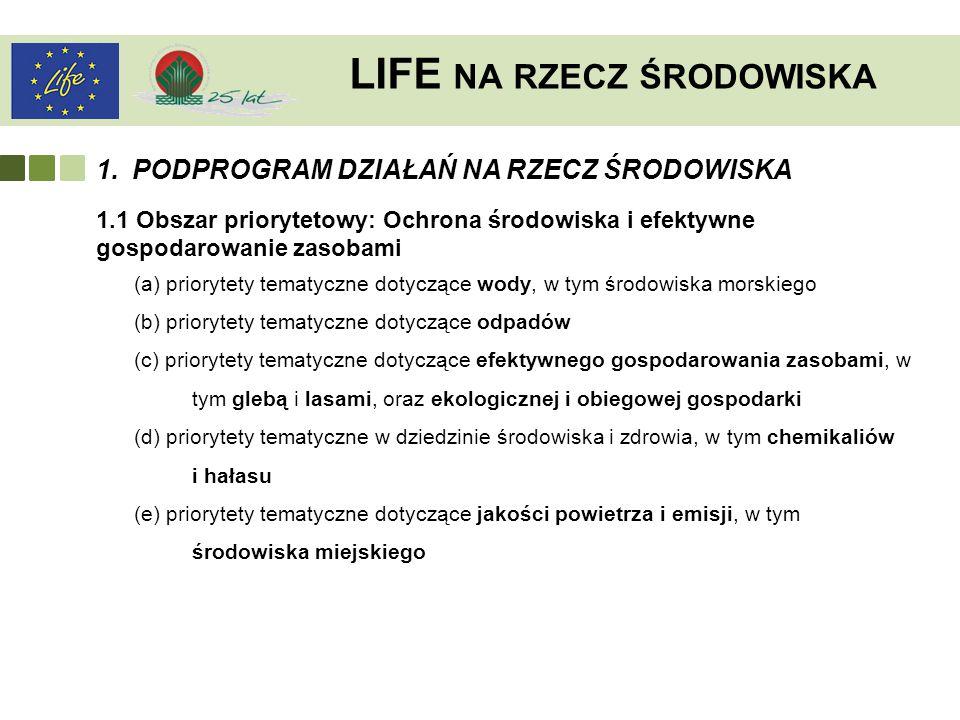 LIFE NA RZECZ ŚRODOWISKA 1.PODPROGRAM DZIAŁAŃ NA RZECZ ŚRODOWISKA 1.1 Obszar priorytetowy: Ochrona środowiska i efektywne gospodarowanie zasobami (a)