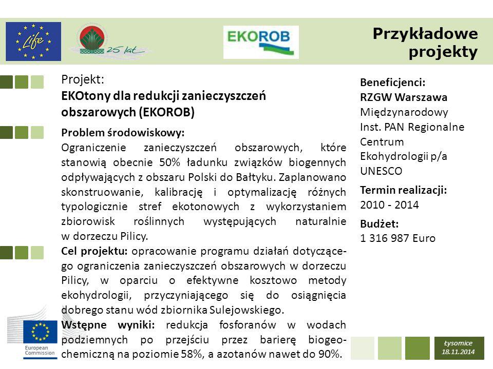 Łysomice 18.11.2014 LIFE – POZIOM WSPÓŁFINANSOWANIA LIFE+LIFE Typ projektu 2007-2013 (z zakresie projektów analogicznych tematycznie) I WPP (2014-2017) II WPP (2018-2020) Projekty podprogramu na rzecz środowiska w tym dotyczące gatunków i siedlisk priorytetowych 50 % 75 % 60 % 75 % 55 % 75 % Projekty podprogramu na rzecz klimatu 50%60 %55 % Projekty zintegrowane, projekty przygotowawcze brak60 % Budowanie potencjału (projekty typu 'capacity building') brak100 % Poziom dofinansowania Komisji Europejskiej