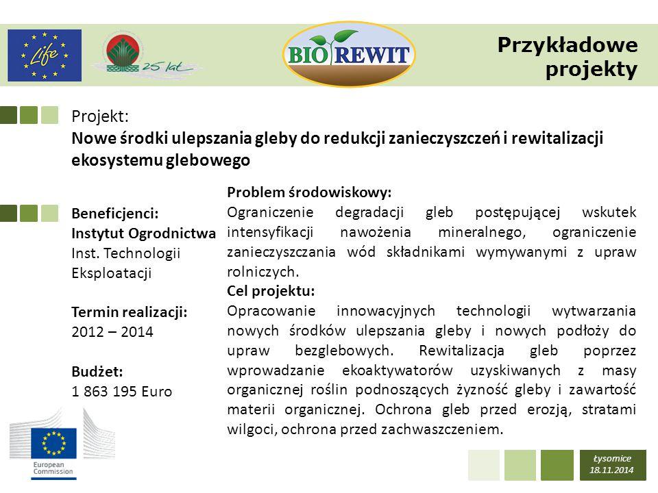 Projekt: Nowe środki ulepszania gleby do redukcji zanieczyszczeń i rewitalizacji ekosystemu glebowego Łysomice 18.11.2014 Beneficjenci: Instytut Ogrod