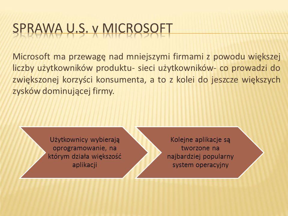 Udziały firmy Microsoft na rynku przeglądarek:  w 1997 roku - 20 % użytkowników korzystało z IE  w 1998 roku - aż 49% użytkowników korzystało z IE  Udziały firmy Microsoft w rynku przeglądarek dystrybuowanych przez AOL  w 1997 roku-20 % użytkowników korzystało z IE  w 1998 roku- 94% użytkowników korzystało z IE