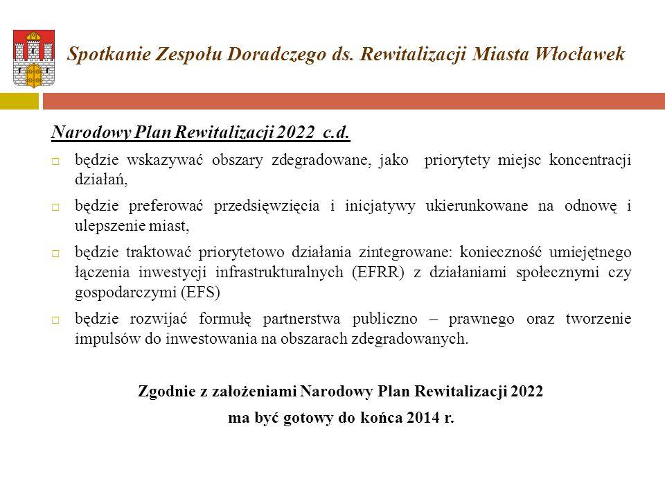 Narodowy Plan Rewitalizacji 2022 c.d.  będzie wskazywać obszary zdegradowane, jako priorytety miejsc koncentracji działań,  będzie preferować przeds