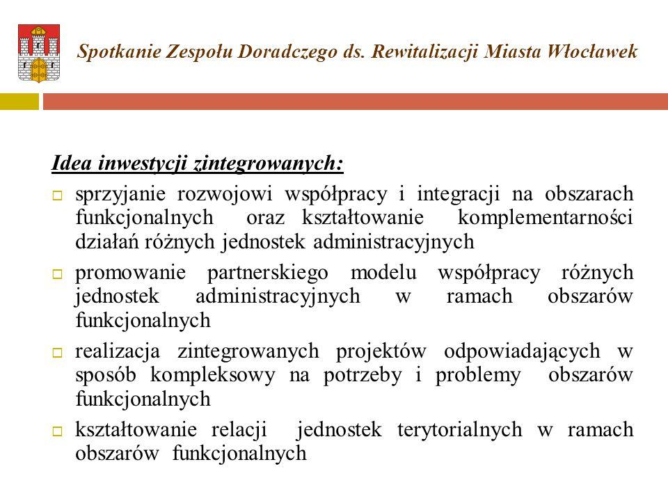 Idea inwestycji zintegrowanych:  sprzyjanie rozwojowi współpracy i integracji na obszarach funkcjonalnych oraz kształtowanie komplementarności działa