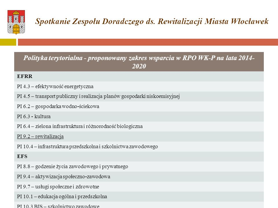 Polityka terytorialna - proponowany zakres wsparcia w RPO WK-P na lata 2014- 2020 EFRR PI 4.3 – efektywność energetyczna PI 4.5 – transport publiczny i realizacja planów gospodarki niskoemisyjnej PI 6.2 – gospodarka wodno-ściekowa PI 6.3 - kultura PI 6.4 – zielona infrastruktura i różnorodność biologiczna PI 9.2 – rewitalizacja PI 10.4 – infrastruktura przedszkolna i szkolnictwa zawodowego EFS PI 8.8 – godzenie życia zawodowego i prywatnego PI 9.4 – aktywizacja społeczno-zawodowa PI 9.7 – usługi społeczne i zdrowotne PI 10.1 – edukacja ogólna i przedszkolna PI 10.3 BIS – szkolnictwo zawodowe Spotkanie Zespołu Doradczego ds.