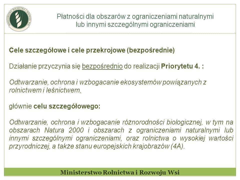 Płatności dla obszarów z ograniczeniami naturalnymi lub innymi szczególnymi ograniczeniami Ministerstwo Rolnictwa i Rozwoju Wsi Cele szczegółowe i cele przekrojowe (pośrednie)  w ramach priorytetu 4.: poprawa gospodarki wodnej, w tym nawożenia i stosowania pestycydów (4B); zapobiegania erozji gleby i poprawy gospodarowania glebą (4C).
