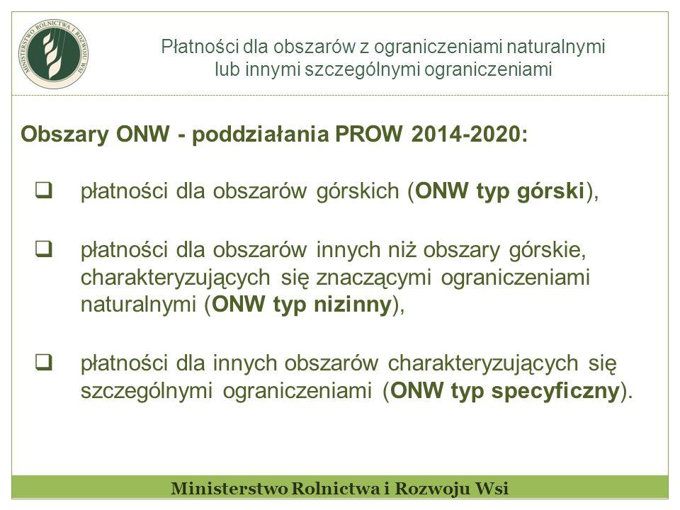 Płatności dla obszarów z ograniczeniami naturalnymi lub innymi szczególnymi ograniczeniami Ministerstwo Rolnictwa i Rozwoju Wsi Obszary ONW - poddziałania PROW 2014-2020:  płatności dla obszarów górskich (ONW typ górski),  płatności dla obszarów innych niż obszary górskie, charakteryzujących się znaczącymi ograniczeniami naturalnymi (ONW typ nizinny),  płatności dla innych obszarów charakteryzujących się szczególnymi ograniczeniami (ONW typ specyficzny).