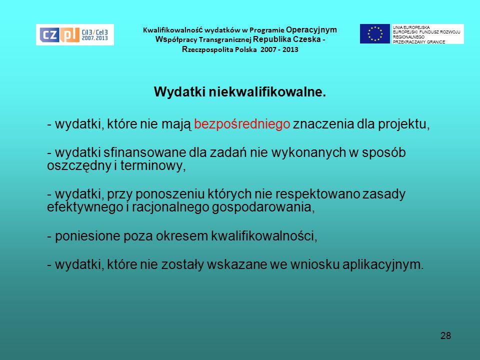 28 Kwalifikowalnoś ć wydatków w Programie Operacyjnym Ws półpracy Transgranicznej Republika Czeska - R zeczpospolita Polska 2007 - 2013 Wydatki niekwalifikowalne.