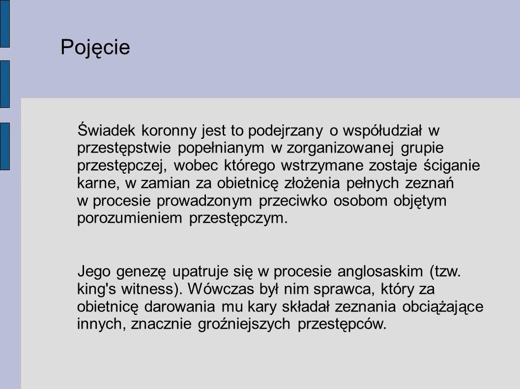 Formy występowania instytucji świadka koronnego: 1.
