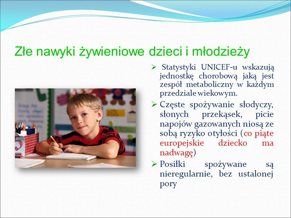 Złe nawyki żywieniowe dzieci i młodzieży  Statystyki UNICEF-u wskazują jednostkę chorobową jaką jest zespół metaboliczny w każdym przedziale wiekowym.