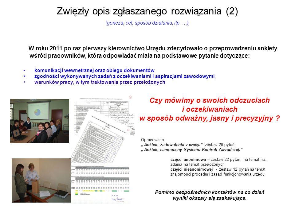 Zwięzły opis zgłaszanego rozwiązania (2) (geneza, cel, sposób działania, itp.