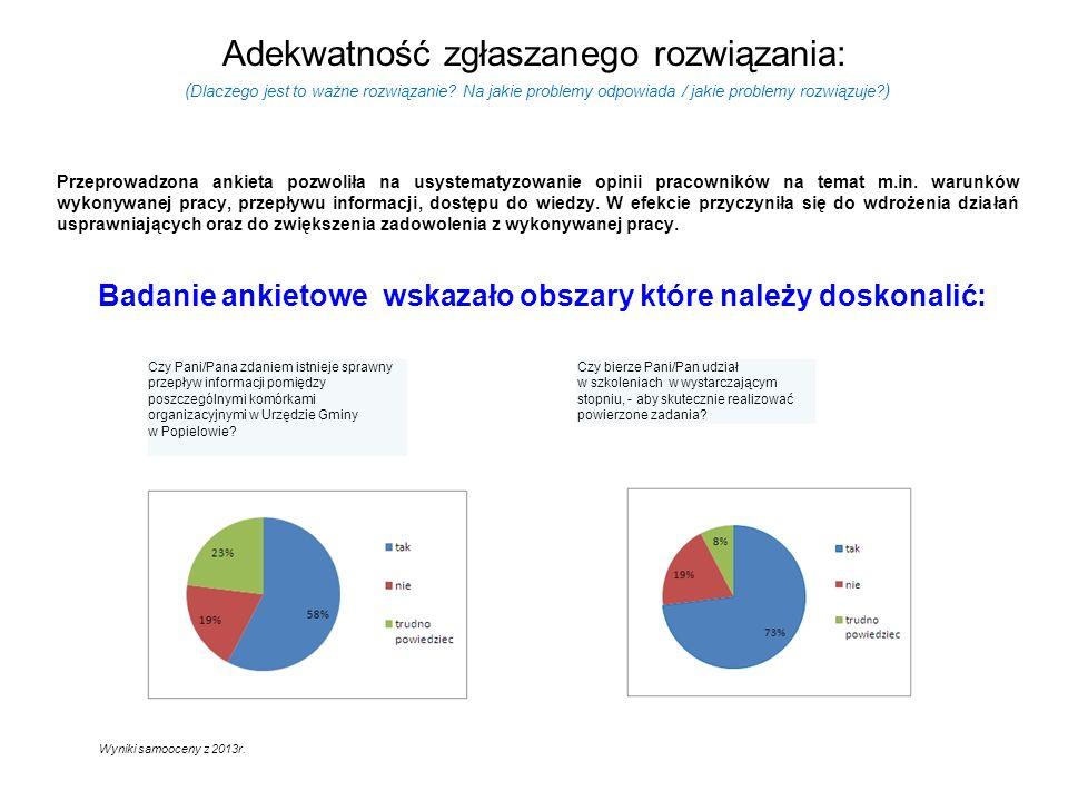 Adekwatność zgłaszanego rozwiązania: Przeprowadzona ankieta pozwoliła na usystematyzowanie opinii pracowników na temat m.in.