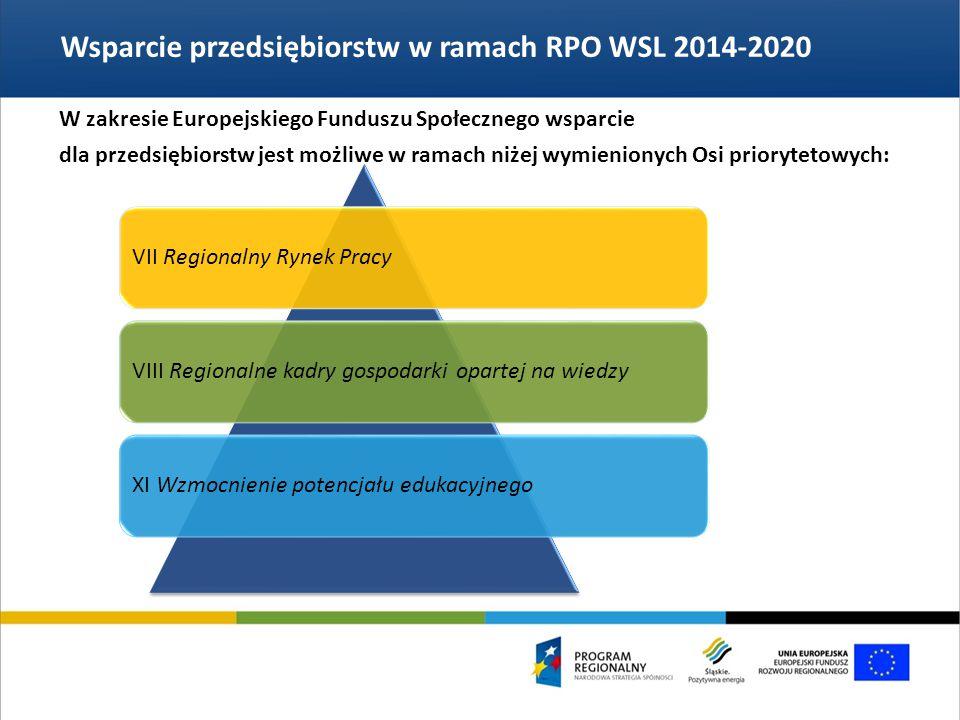 Wsparcie przedsiębiorstw w ramach RPO WSL 2014-2020 VII Regionalny Rynek PracyVIII Regionalne kadry gospodarki opartej na wiedzyXI Wzmocnienie potencjału edukacyjnego W zakresie Europejskiego Funduszu Społecznego wsparcie dla przedsiębiorstw jest możliwe w ramach niżej wymienionych Osi priorytetowych:
