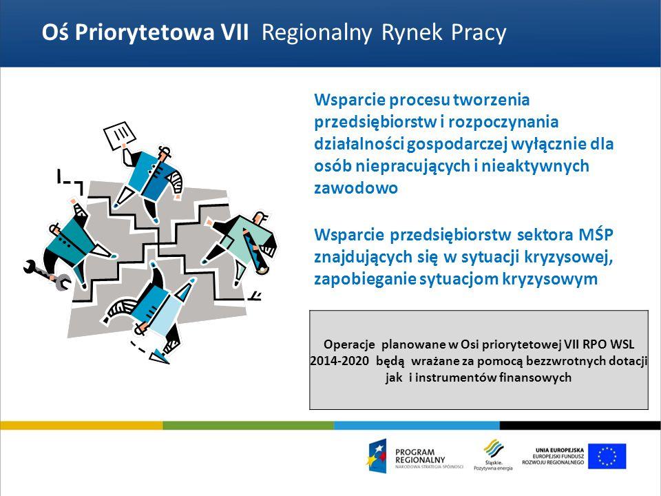 Oś Priorytetowa VII Regionalny Rynek Pracy Wsparcie procesu tworzenia przedsiębiorstw i rozpoczynania działalności gospodarczej wyłącznie dla osób niepracujących i nieaktywnych zawodowo Operacje planowane w Osi priorytetowej VII RPO WSL 2014-2020 będą wrażane za pomocą bezzwrotnych dotacji jak i instrumentów finansowych Wsparcie przedsiębiorstw sektora MŚP znajdujących się w sytuacji kryzysowej, zapobieganie sytuacjom kryzysowym