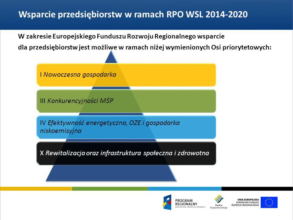 Wsparcie przedsiębiorstw w ramach RPO WSL 2014-2020 I Nowoczesna gospodarkaIII Konkurencyjności MŚP IV Efektywność energetyczna, OZE i gospodarka niskoemisyjna X Rewitalizacja oraz infrastruktura społeczna i zdrowotna W zakresie Europejskiego Funduszu Rozwoju Regionalnego wsparcie dla przedsiębiorstw jest możliwe w ramach niżej wymienionych Osi priorytetowych: