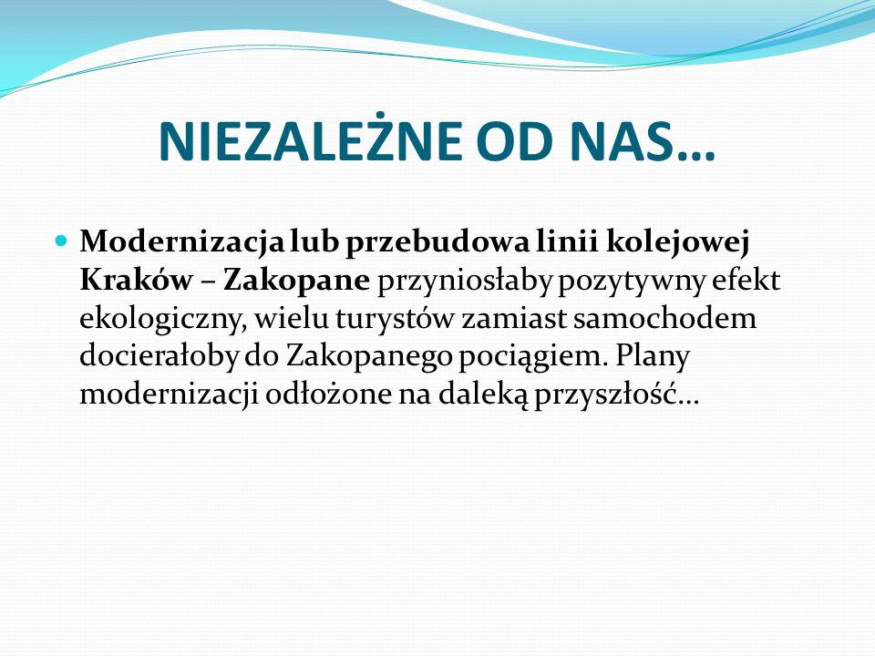 NIEZALEŻNE OD NAS… Modernizacja lub przebudowa linii kolejowej Kraków – Zakopane przyniosłaby pozytywny efekt ekologiczny, wielu turystów zamiast samo