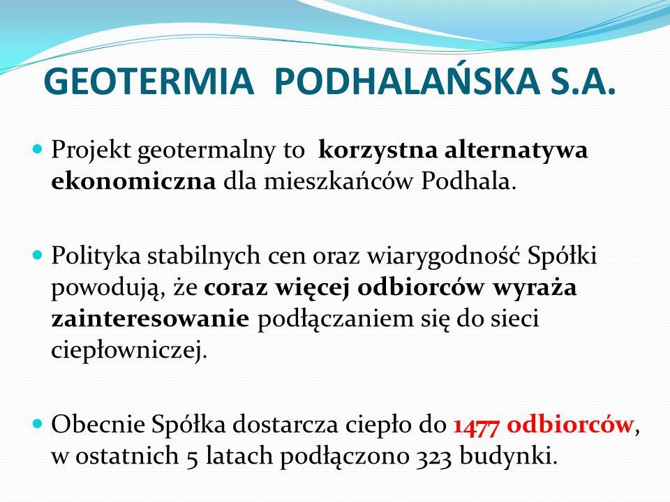 GEOTERMIA PODHALAŃSKA S.A. Projekt geotermalny to korzystna alternatywa ekonomiczna dla mieszkańców Podhala. Polityka stabilnych cen oraz wiarygodność
