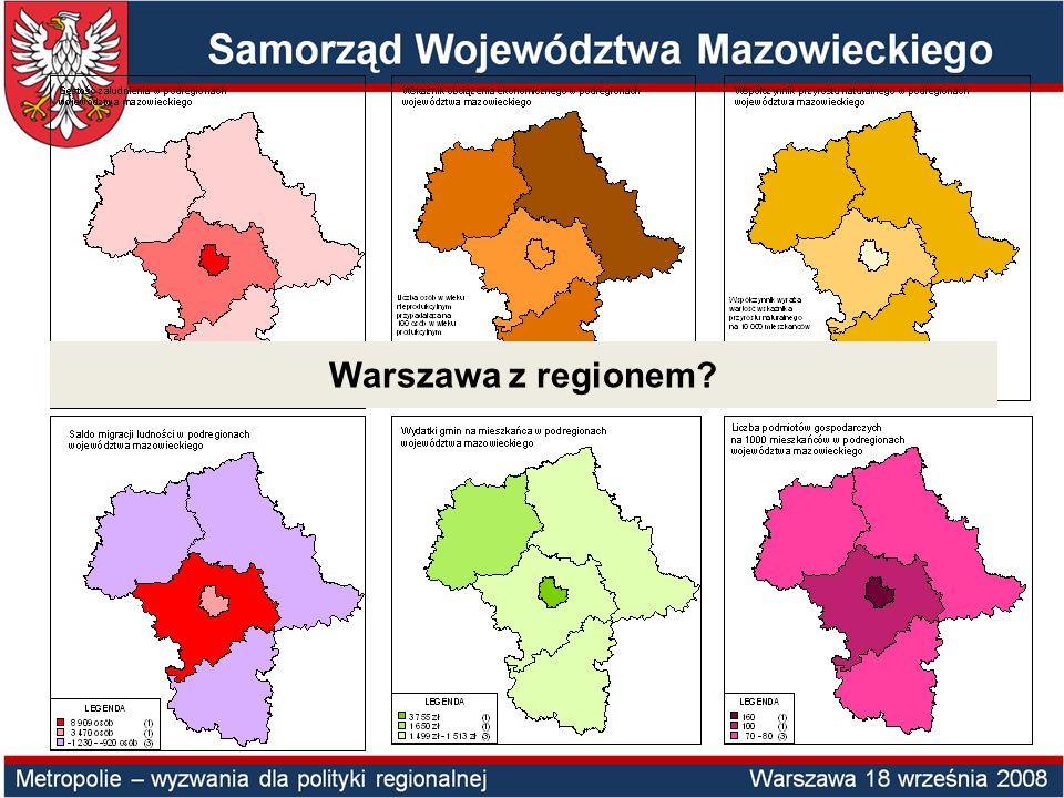 Symulacje podziału terytorialnego Mazowsza na regiony NUTS2 (dane za rok 2004) NUTS2PKB w mln wg PPP PKB per capita wg PPP PKB per capita wg PPP - % średniej UE-27 % ludności Województwa Mazowieckiego Symulacja 1 Mazowsze 84 937,716 523,276,8100,0 Symulacja 2 Warszawa 51 973,330 733,3142,932,9 Mazowsze bez Warszawy 32 965,49 556,744,467,1 Symulacja 3 Obszar metropolitalny (Warszawa+warszawski) 65 765,821 749,0101,158,8 Mazowsze bez obszaru metropolitalnego 19 172,99 057,942,141,2 Symulacja 4 Warszawa51 973,330 733,3142,932,9 warszawski13 792,510 348,948,125,9 radomski5 807,37 911,736,814,3 ostrołęcko-siedlecki5 753,57 634,735,514,6 ciechanowsko-płocki7 612,112 100,156,312,2
