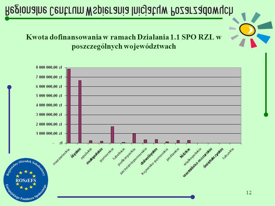 12 Kwota dofinansowania w ramach Działania 1.1 SPO RZL w poszczególnych województwach