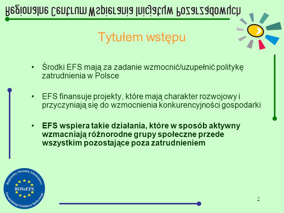 2 Tytułem wstępu Środki EFS mają za zadanie wzmocnić/uzupełnić politykę zatrudnienia w Polsce EFS finansuje projekty, które mają charakter rozwojowy i przyczyniają się do wzmocnienia konkurencyjności gospodarki EFS wspiera takie działania, które w sposób aktywny wzmacniają różnorodne grupy społeczne przede wszystkim pozostające poza zatrudnieniem