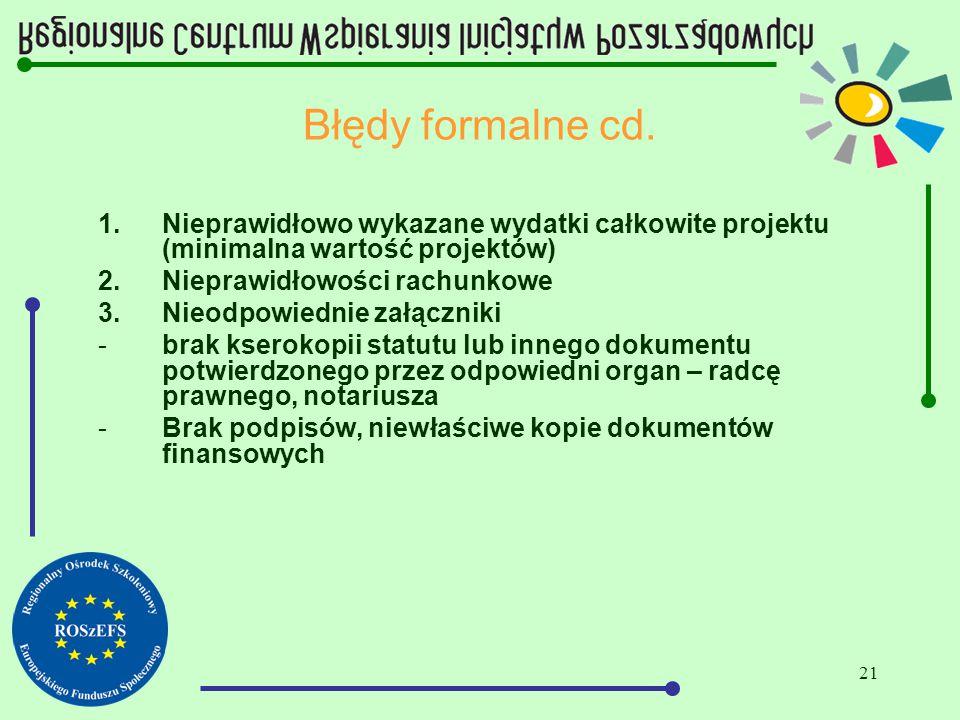 21 Błędy formalne cd. 1.Nieprawidłowo wykazane wydatki całkowite projektu (minimalna wartość projektów) 2.Nieprawidłowości rachunkowe 3.Nieodpowiednie