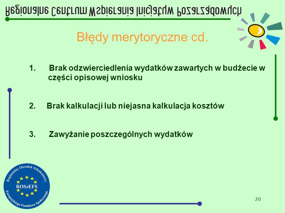 30 Błędy merytoryczne cd. 1. Brak odzwierciedlenia wydatków zawartych w budżecie w części opisowej wniosku 2. Brak kalkulacji lub niejasna kalkulacja