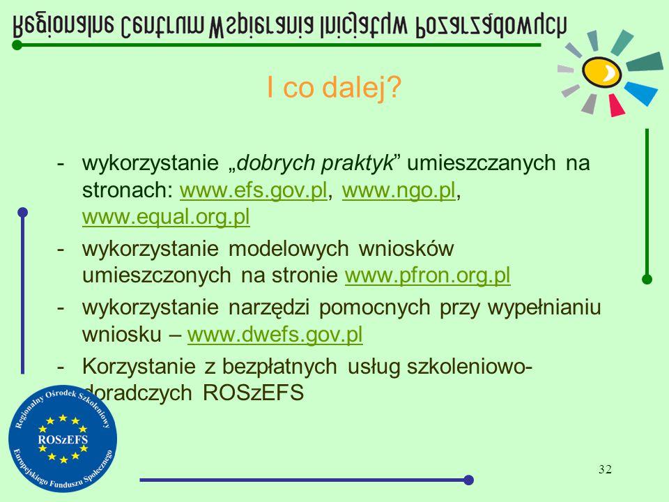 """32 I co dalej? -wykorzystanie """"dobrych praktyk"""" umieszczanych na stronach: www.efs.gov.pl, www.ngo.pl, www.equal.org.plwww.efs.gov.plwww.ngo.pl www.eq"""