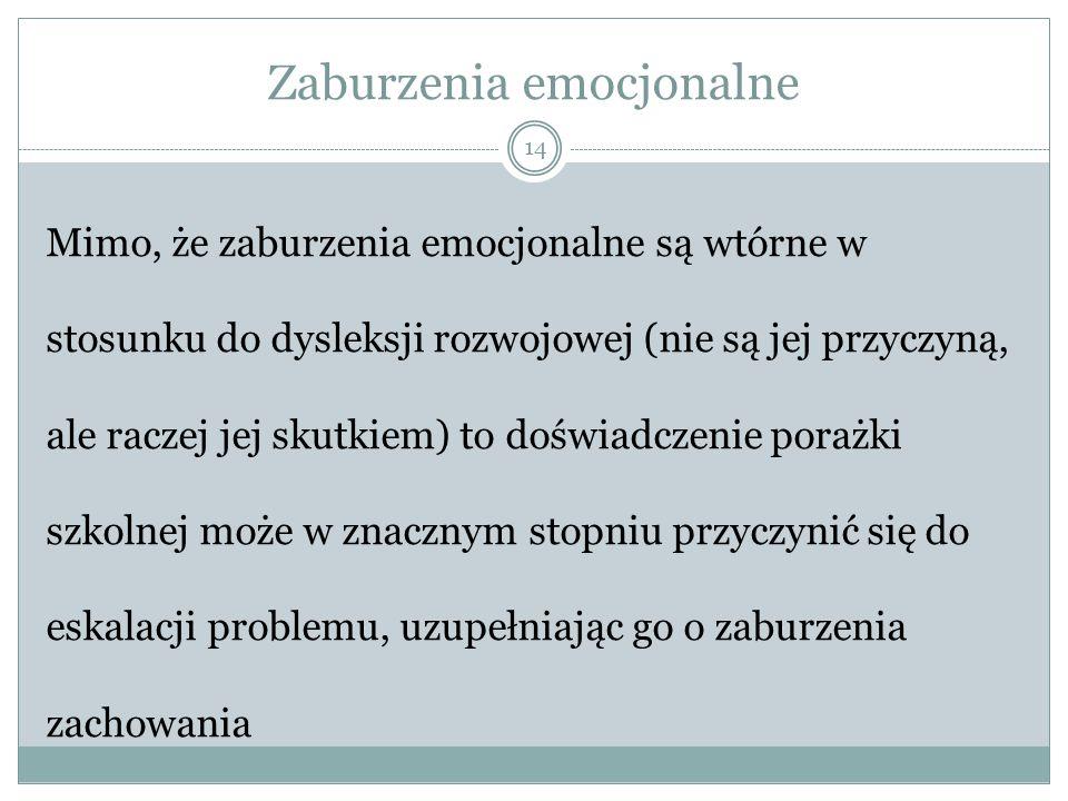 Zaburzenia emocjonalne 14 Mimo, że zaburzenia emocjonalne są wtórne w stosunku do dysleksji rozwojowej (nie są jej przyczyną, ale raczej jej skutkiem) to doświadczenie porażki szkolnej może w znacznym stopniu przyczynić się do eskalacji problemu, uzupełniając go o zaburzenia zachowania