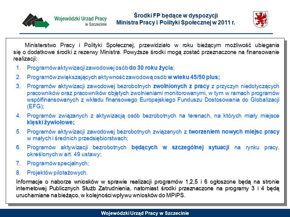 Wojewódzki Urząd Pracy w Szczecinie Środki FP będące w dyspozycji Ministra Pracy i Polityki Społecznej w 2011 r. Ministerstwo Pracy i Polityki Społecz