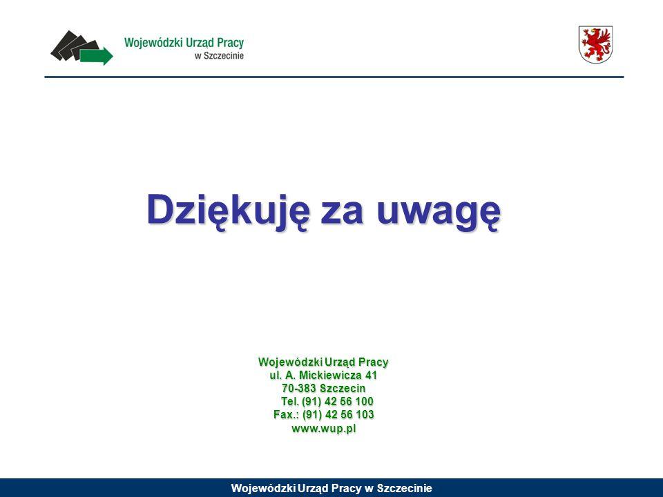 Wojewódzki Urząd Pracy w Szczecinie Dziękuję za uwagę Wojewódzki Urząd Pracy ul. A. Mickiewicza 41 70-383 Szczecin Tel. (91) 42 56 100 Tel. (91) 42 56